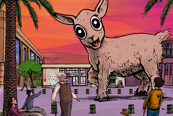 Una cabra gigante se paseó por la plaza de armas